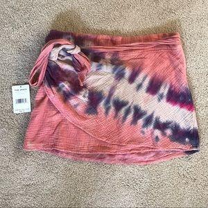 Free people boho  pink tie dye mini skirt